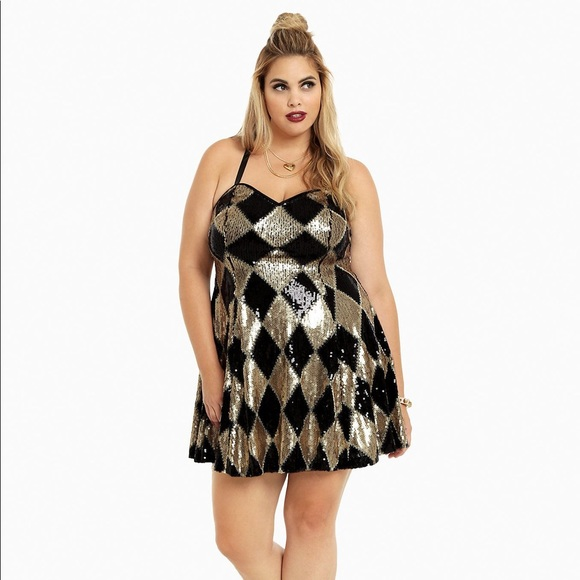 Plus Size Harley Quinn Sequin Club Dress